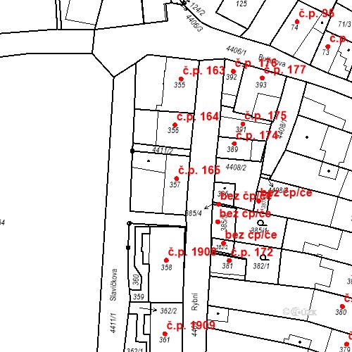 Katastrální mapa Stavební objekt Chotěboř 165, Chotěboř