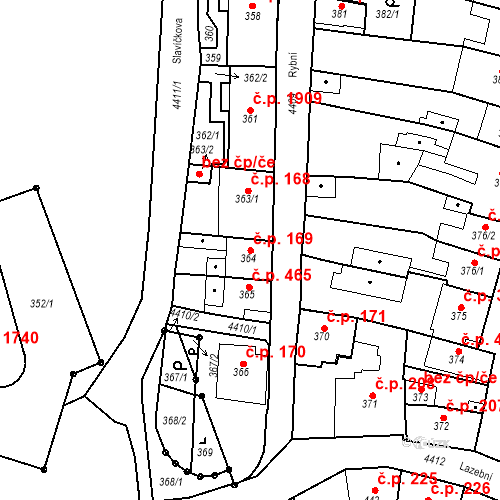 Katastrální mapa Stavební objekt Chotěboř 169, Chotěboř