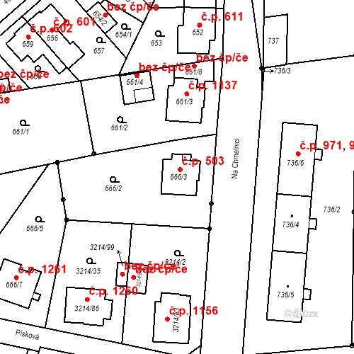 Katastrální mapa Stavební objekt Chotěboř 503, Chotěboř