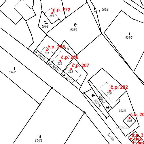 Katastrální mapa Stavební objekt Luka nad Jihlavou 207, Luka nad Jihlavou