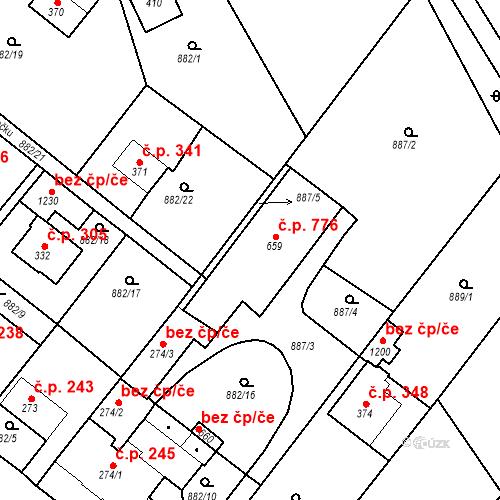 Katastrální mapa Stavební objekt Luka nad Jihlavou 776, Luka nad Jihlavou