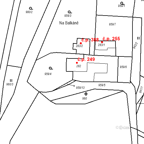 Katastrální mapa Stavební objekt Luka nad Jihlavou 249, Luka nad Jihlavou