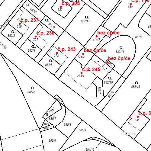 Katastrální mapa Stavební objekt Luka nad Jihlavou 245, Luka nad Jihlavou