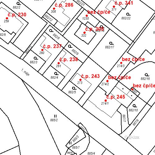 Katastrální mapa Stavební objekt Luka nad Jihlavou 243, Luka nad Jihlavou