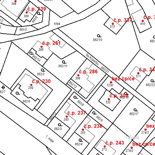 Katastrální mapa Stavební objekt Luka nad Jihlavou 286, Luka nad Jihlavou