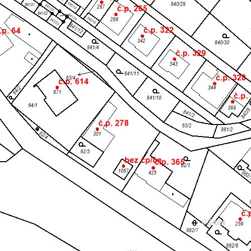 Katastrální mapa Stavební objekt Luka nad Jihlavou 278, Luka nad Jihlavou