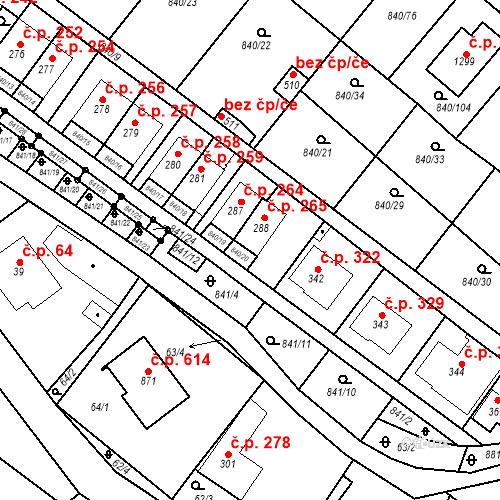 Katastrální mapa Stavební objekt Luka nad Jihlavou 265, Luka nad Jihlavou