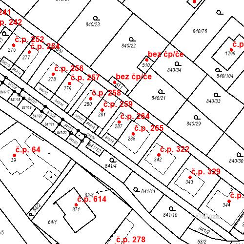 Katastrální mapa Stavební objekt Luka nad Jihlavou 264, Luka nad Jihlavou
