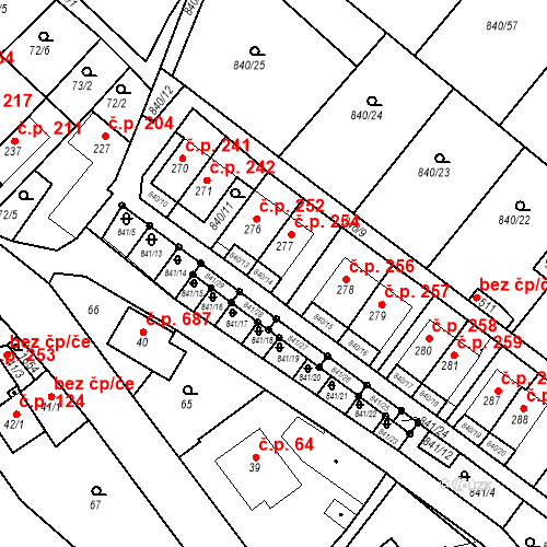 Katastrální mapa Stavební objekt Luka nad Jihlavou 254, Luka nad Jihlavou
