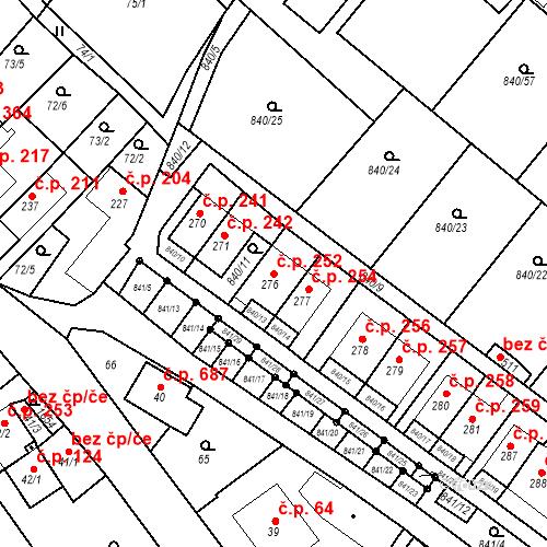 Katastrální mapa Stavební objekt Luka nad Jihlavou 252, Luka nad Jihlavou