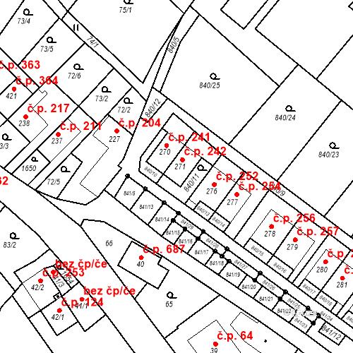 Katastrální mapa Stavební objekt Luka nad Jihlavou 242, Luka nad Jihlavou