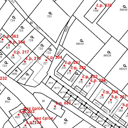 Katastrální mapa Stavební objekt Luka nad Jihlavou 241, Luka nad Jihlavou