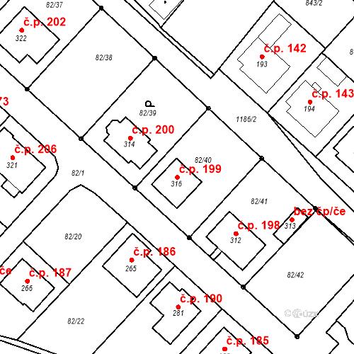 Katastrální mapa Stavební objekt Jakubov u Moravských Budějovic 199, Jakubov u Moravských Budějovic