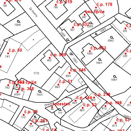 Katastrální mapa Stavební objekt Luka nad Jihlavou 246, Luka nad Jihlavou