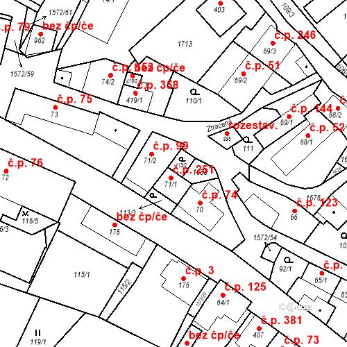 Katastrální mapa Stavební objekt Luka nad Jihlavou 251, Luka nad Jihlavou