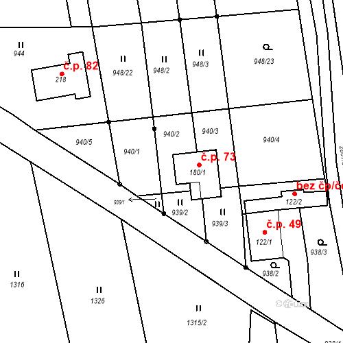 Katastrální mapa Stavební objekt Panská Lhota 73, Brtnice