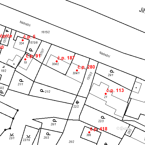 Katastrální mapa Stavební objekt Luka nad Jihlavou 280, Luka nad Jihlavou