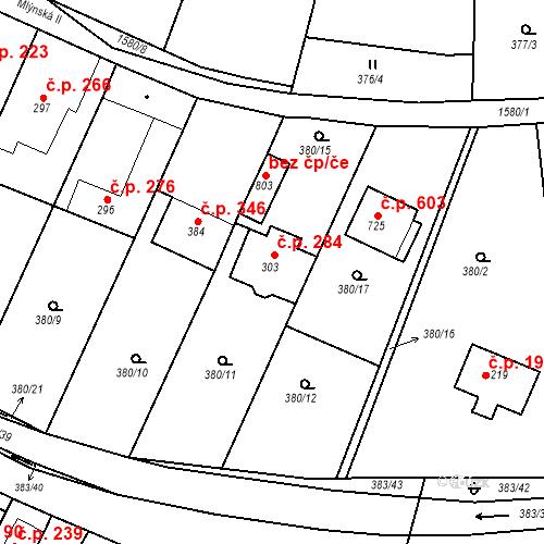 Katastrální mapa Stavební objekt Luka nad Jihlavou 284, Luka nad Jihlavou