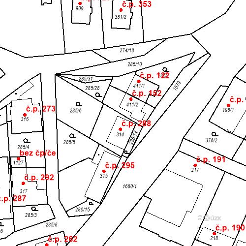 Katastrální mapa Stavební objekt Luka nad Jihlavou 288, Luka nad Jihlavou