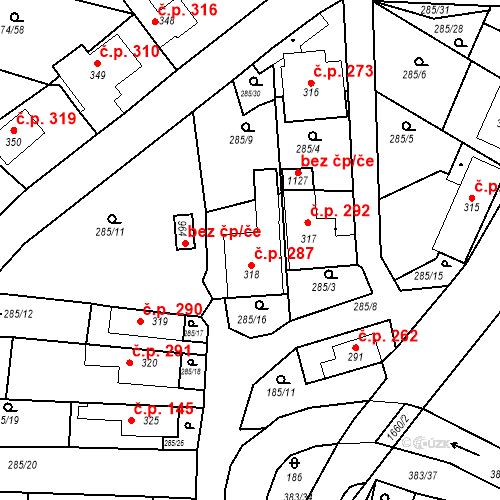 Katastrální mapa Stavební objekt Luka nad Jihlavou 287, Luka nad Jihlavou