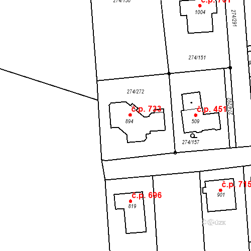 Katastrální mapa Stavební objekt Luka nad Jihlavou 733, Luka nad Jihlavou