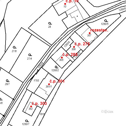 Katastrální mapa Stavební objekt Luka nad Jihlavou 285, Luka nad Jihlavou