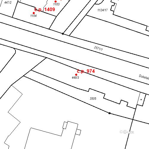 Katastrální mapa Stavební objekt Nový Bydžov 974, Nový Bydžov
