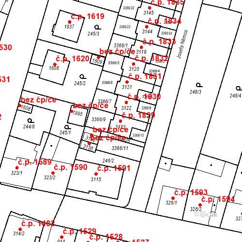 Katastrální mapa Stavební objekt Nový Bydžov 1829, Nový Bydžov