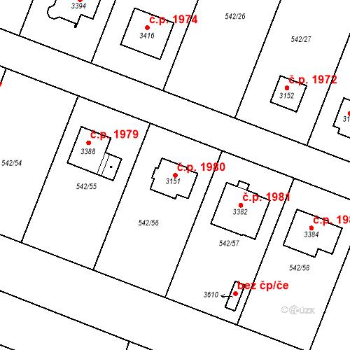 Katastrální mapa Stavební objekt Nový Bydžov 1980, Nový Bydžov