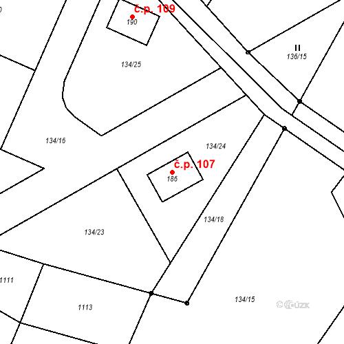 Katastrální mapa Stavební objekt Vepříkov 107, Vepříkov