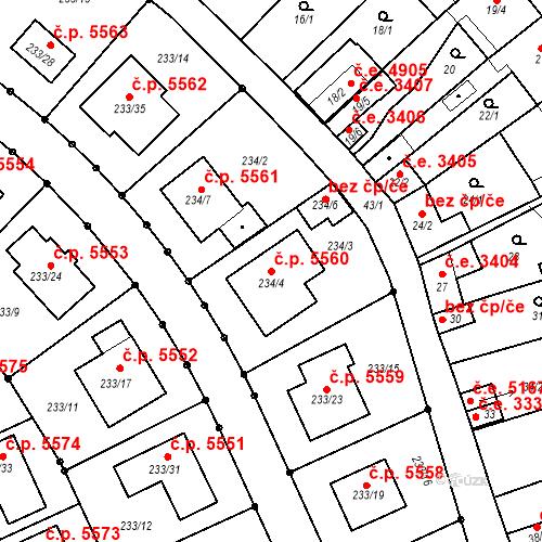 Katastrální mapa Stavební objekt Helenín 5560, Jihlava