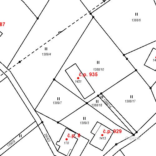 Katastrální mapa Stavební objekt Kořenov 935, Kořenov