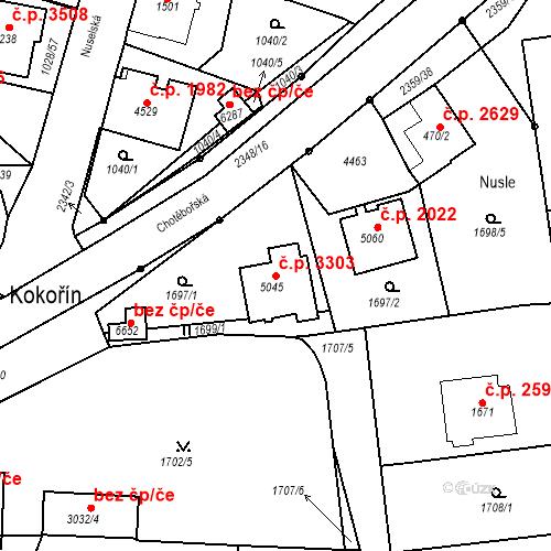 Katastrální mapa Stavební objekt Havlíčkův Brod 3303, Havlíčkův Brod