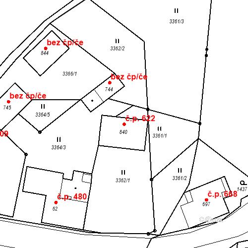 Katastrální mapa Stavební objekt Kořenov 622, Kořenov