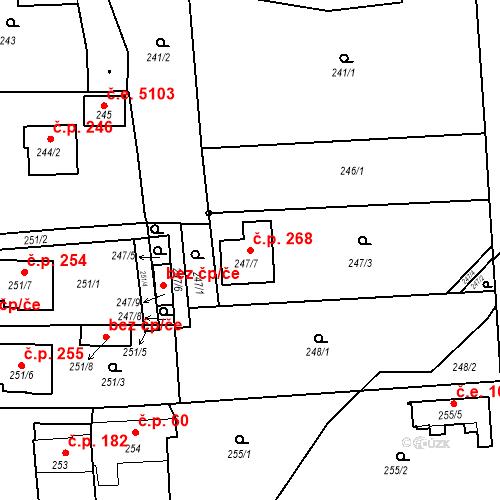 Katastrální mapa Stavební objekt Červený Kříž 268, Jihlava