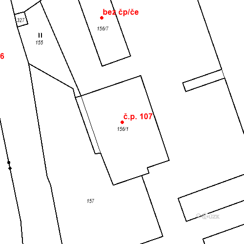 Katastrální mapa Stavební objekt Antonínův Důl 107, Jihlava