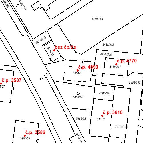 Katastrální mapa Stavební objekt Jihlava 4890, Jihlava