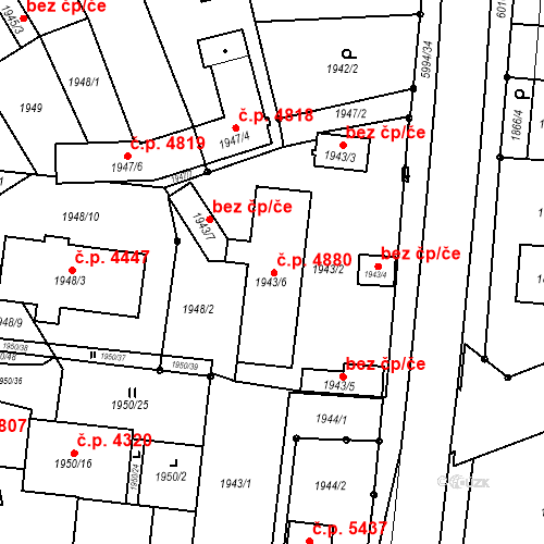 Katastrální mapa Stavební objekt Jihlava 4880, Jihlava