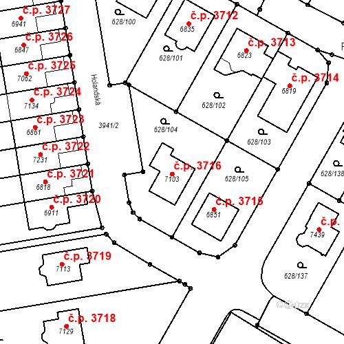Katastrální mapa Stavební objekt Havlíčkův Brod 3716, Havlíčkův Brod