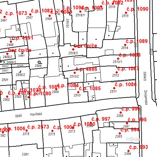 Katastrální mapa Stavební objekt Jihlava 4886, Jihlava