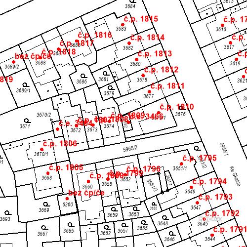Katastrální mapa Stavební objekt Jihlava 3466, Jihlava