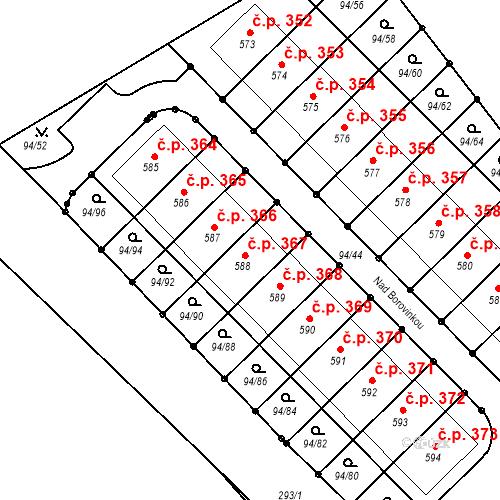 Katastrální mapa Stavební objekt Staré Hory 367, Jihlava