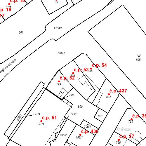 Katastrální mapa Stavební objekt Semily 53, Semily