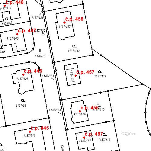Katastrální mapa Stavební objekt Horní Kosov 457, Jihlava
