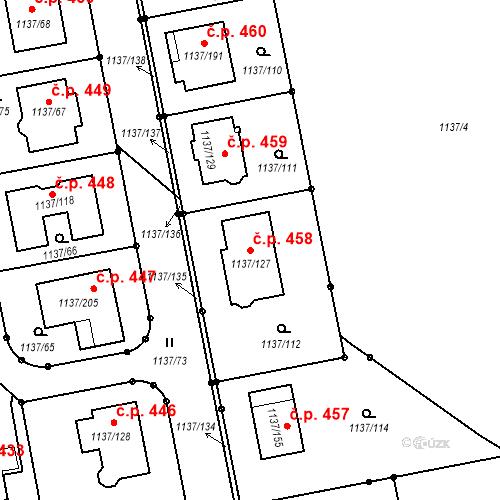 Katastrální mapa Stavební objekt Horní Kosov 458, Jihlava