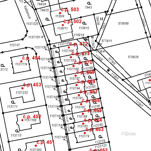 Katastrální mapa Stavební objekt Horní Kosov 469, Jihlava