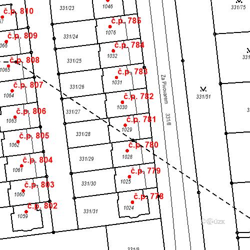 Katastrální mapa Stavební objekt Golčův Jeníkov 781, Golčův Jeníkov