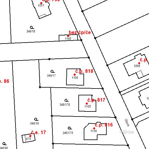 Katastrální mapa Stavební objekt Golčův Jeníkov 818, Golčův Jeníkov