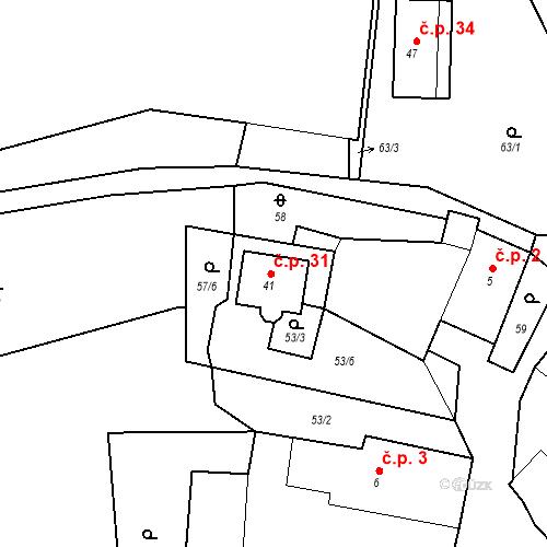 Katastrální mapa Stavební objekt Prostředkovice 31, Suchá