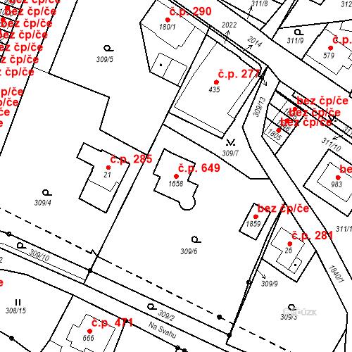 Katastrální mapa Stavební objekt Tanvald 649, Tanvald